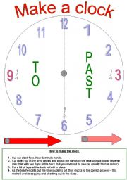 English Worksheet: Make a Clock & Tell the Time !