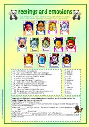 feelings and emotions 3 activities on feelings and emotions answer