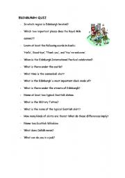 English worksheet: Quiz Edinburgh