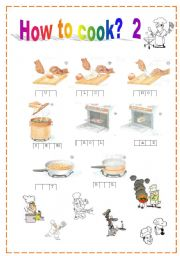 English Worksheet: Vocab: How to describe cooking picyures:  words blank with some clues , not to difficult one: cut,slice,chop,steam,broil,bake,fry,boil  (+KEY) ....  No.2