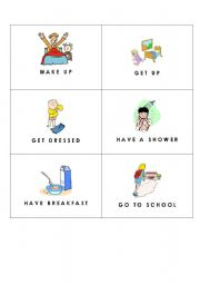 English Worksheet: Everyday Activities /  Daily Routines Flashcards