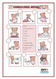 English Worksheets: HOUSEHOLD CHORES - MATCHING