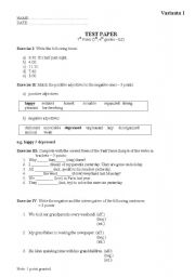 English worksheets test paper 7th grade