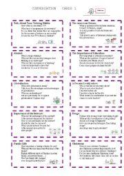 English Worksheet: Conversation Cards 1/3