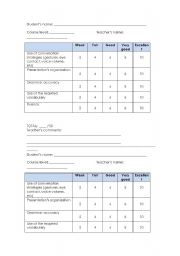 English Worksheet: Oral assessment rubric