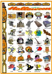 English Worksheet: HALLOWEEN - PICTIONARY (B&W VERSION INCLUDED)