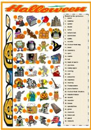 English Worksheets: HALLOWEEN - MATCHING EXERCISE (B&W VERSION INCLUDED)