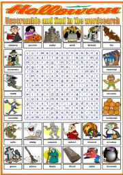 English Worksheet: HALLOWEEN- WORDSEARCH (B&W VERSION INCLUDED)