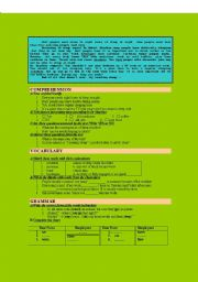 English Worksheets: Reading comprehension with a set of grammar and vocabulary tasks