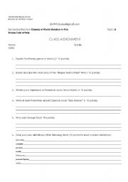English Worksheets: Simple Twist of Fate Movie Class Assignment