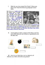 English Worksheet: pink floyd song
