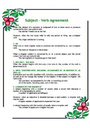 English Worksheets: Subject - Verb Agreement