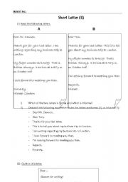 English Worksheets: Short Letter