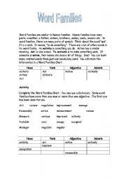 English Worksheet: Word Families
