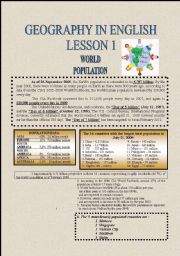 English Worksheets: GEOGRAPHY LESSONS IN ENGLISH PART 1-WORLD POPULATION