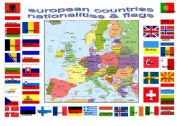 English Worksheet: european countries flags and nationalities