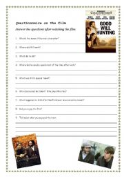 English Worksheets: Good will hunting - a fantastic movie to motivete your SS to stay in School