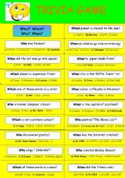 English Worksheets: TRIVIA GAME