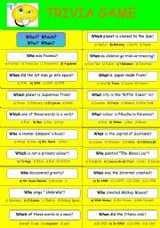 English Worksheet: TRIVIA GAME