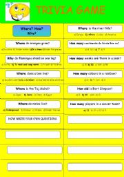 English Worksheets: TRIVIA GAME 1
