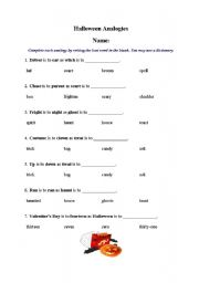 English worksheets: Halloween analogies