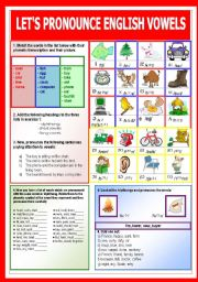English Worksheet: Let�s pronounce English vowels