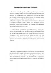 English Worksheets: language laboratory and multimedia