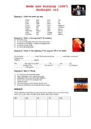 English Worksheets: Beds are burning, Midnight Oil