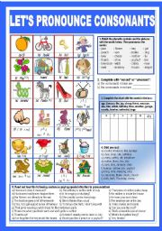 English Worksheet: Let�s pronounce the consonants!