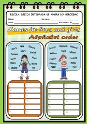 English Worksheet: THE ALPHABET ORDER