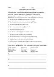 English teaching worksheets: Personification