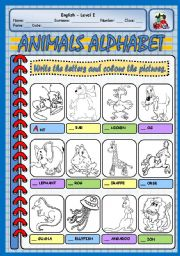 English Worksheet: ANIMALS ALPHABET - PART 1 (A - L)