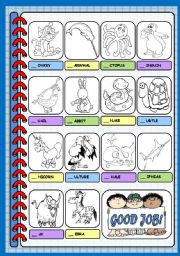 English Worksheets: ANIMALS ALPHABET - PART 2 (M - Z)