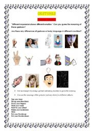 English Worksheet: Gestures and Body Language