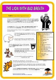 English Worksheets: The Lion with Bad Breath
