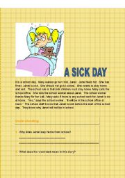 English Worksheets: A Sick Day