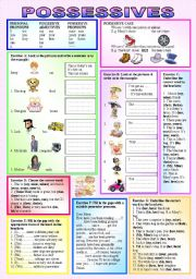 "English Worksheet: POSSESSIVES - Personal Pronouns, Possessive Adjectives, Possessive Pronouns - Teach students ""when, where & how"" to use ""Possessives"" - elementary/intermediate - (( 5 Exercises, 40 sentences )) - (( B&W VERSION INCLUDED ))"