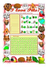 English Worksheet: I LOVE PETS!