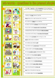 English Worksheet: WH - WORDS - MAKING QUESTIONS IN THE PRESENT SIMPLE