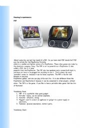 English Worksheet: PSP and Gadgets