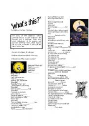english worksheet whats this song from the movie the nightmare before christmas - Whats This Nightmare Before Christmas Lyrics