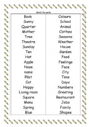 English Worksheets: word match