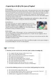 English Worksheet: A typical day in the life of the Queen of England