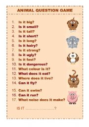 English Worksheets: ANIMAL QUESTION GAME