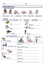 english teaching worksheets can can t. Black Bedroom Furniture Sets. Home Design Ideas