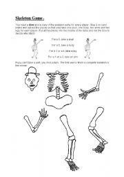 English Worksheet: Skeleton Game