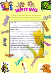 English Worksheets: Writing about school and teachers