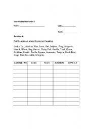 English Worksheet: Vertebrates