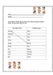 Gender Of Nouns Worksheets