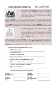 English Worksheets: The automobile reading comprehension worksheet